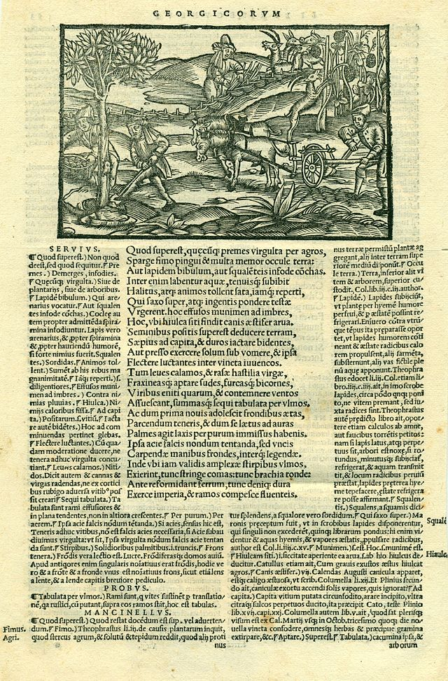 16th century edition of Virgil with Servius' commentary printed to the left of the text